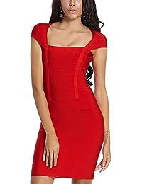 HLBandage Cap Sleeve Square Collar Women's Rayon Mini Bodycon Bandage Dress