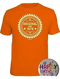 Geschenke-Set Shirt + Button: ORIGINAL 1976, ALLE FARBEN für Sie herstellbar zum 40. Geburtstag, Tshirt Geburtstagsgeschenk Alter 40 Jahre S M L XL XXL 3XL 4XL 5XL +Premium Button als Geschenk Set