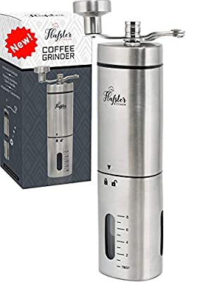 Manual Coffee Grinder- Hand Conical Coffee Bean Grinder with Ceramic Mechanism by Flafster Kitchen- Portable Stainless Steel Burr Coffee Mill with Folding Stainless Steel Handle - Accessories by FLAFSTER KITCHEN