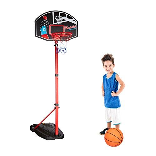 Relaxdays Basketballkorb mit Ständer 240 cm, höhenverstellbare Korbanlage, Spiel Set inkl. Ball und Pumpe, rot-schwarz
