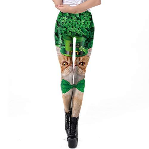 HUBINGRONG Damen St.Patrick's Day Schleife Katze Grün vierblättriges Kleeblatt Leggings 3D Bedruckt Yoga Hose Strumpfhose Sport Fitness, Polyester, Mehrfarbig, XL