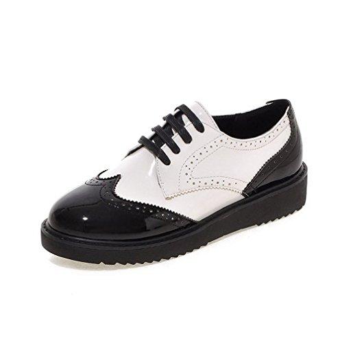 VogueZone009 Femme Tire Pu Cuir Rond à Talon Bas Couleurs Mélangées Chaussures Légeres Noir