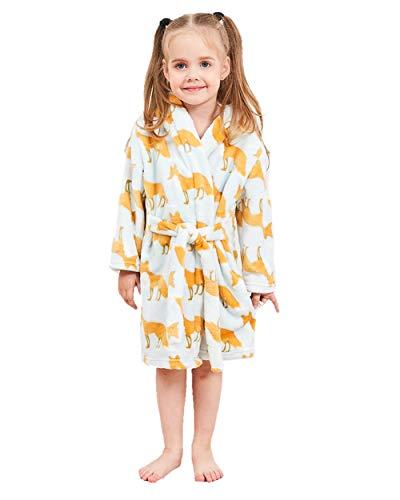 nder Kinder Kapuzen Bademantel Jungen Mädchen Morgenmantel Cartoon Tier Pyjamas Flanell-Nachtwäsche Größe 120 Fuchs ()