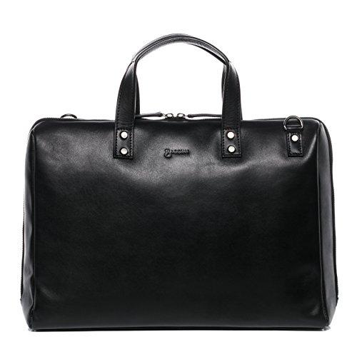 BACCINI® Borsa porta pc vera pelle VIVI grande borsa a spalla 15,6 pollici portadocumenti a tracolla portatile donna cuoio nero
