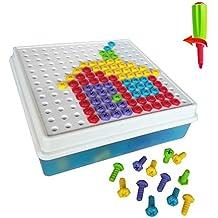 Rompecabezas Bricolaje Bloques de Construcción Puzzle Bandeja el Tablero Creativos Juguetes la Caja para Niños de 3 Años+ (152PCS)