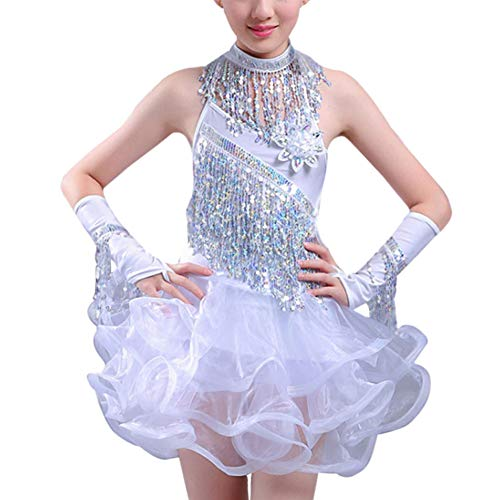 Gtagain Tanzen Kostüm Kleider Mädchen - Kinder Pailletten Fransen Rock Ballsaal Performance Tanzkleidung Latin Salsa Tango Samba Rumba Dancewear ()