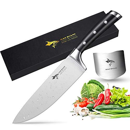 MAD SHARK Cuchillo Chef - Cuchillo de Cocina Pro de 8 Pulgadas, Cuchillo de Acero Inoxidable, Mango Ergonómico, Ultra Afilado, es la Mejor Opción para la Cocina Doméstica