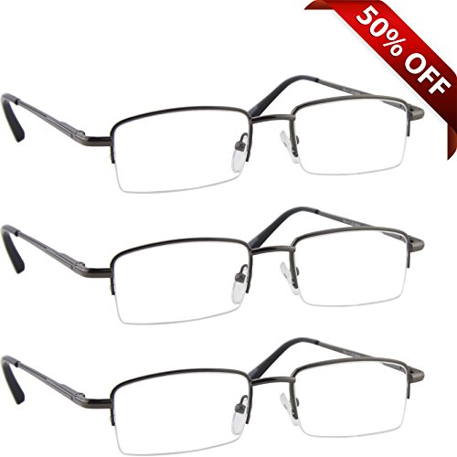 2f90825da46a Reading Glasses Best 3 Pack Gunmetal for Men and Women Have a Stylish Look  and Crystal