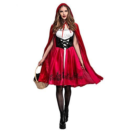 IMEKIS Damen Rotkäppchen Kostüm Erwachsene Halloween Karneval Fasching Cosplay Partykleid Prinzessin Märchen Verkleidung Little Red Riding Hood Kleid und Umhang mit Kapuze Performance Outfit Rot - Gothic Red Riding Hood Kostüm Für Erwachsene