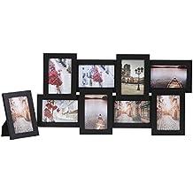 Songmics Cornice Multifoto da Parete con 8 Posti di Foto e un Portafoto Singolo da Tavolo Nero RPF108H