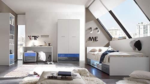 Möbel Akut Jugendzimmer Komplettset Colori Bett Schrank Schreibtisch Standregal weiß Glas blau...