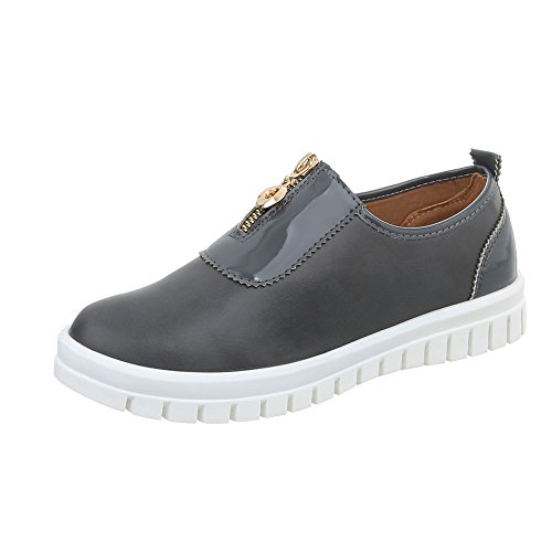 Ital-Design Scarpe da Donna Sneaker Piatto Sneakers Low grigio J5C