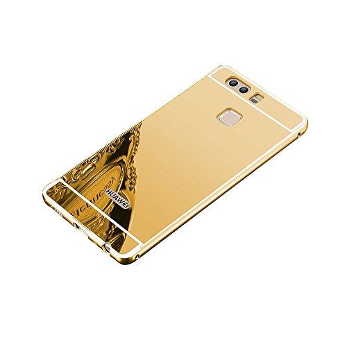 Minto Luxus Aluminium Metall Spiegelhülle Schutzhülle + Panzerglasfolie iPhone 5 / 5S / SE Spiegel PC Rückseite Case Cover Hülle Gold + Metall Bumper Rahmen Echtglas Hartglas Schutzfolie 9H Gold -p9