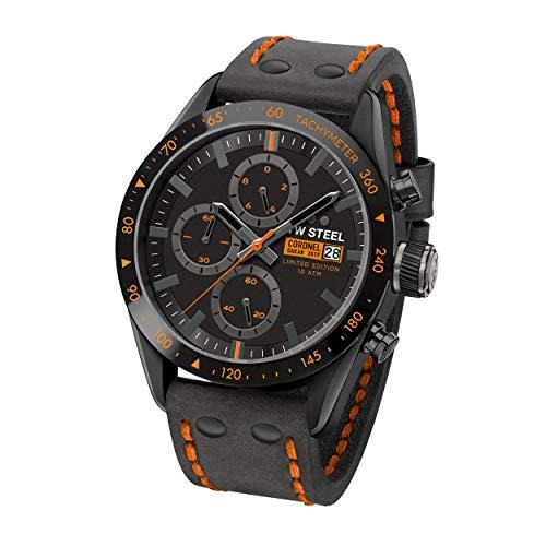 TW Steel Unisex Erwachsene Chronograph Quarz Uhr mit Leder Armband TW996