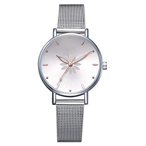 LMCZY sportuhr Damen Armbanduhren Blumen Metall Damen Armbanduhr, A