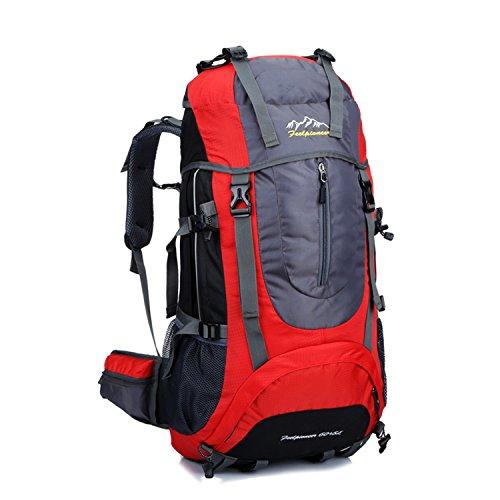 Young & Ming - Supergroßes 65L Unisex Rucksäcke Im Freien Wandern Klettern Freizeit Trekkingrucksäcke Outdoor Taschen Radfahren Reiten Reisetaschen wasserdicht Backpack Rot