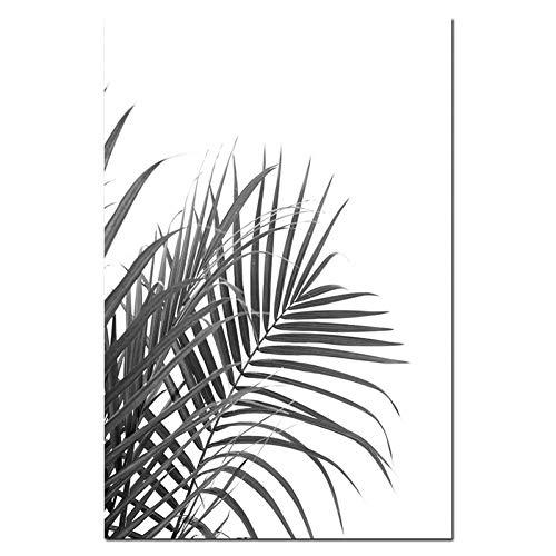 20 Schwarz-tintenstrahl (ZHUANG Dekorative Malerei Minimalismus Tropische Drucke Palm Tree Leaves Wandkunst Ananas Poster Schwarz Weiß Leinwand Malerei Bild Für Wohnzimmer, 20X25 Cmnoframe, 01)