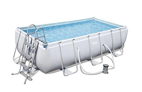 Bestway Power Steel Rectangular Frame Pool Set, grau, 404 x 201 x 100 cm Stahlrahmenpool Set mit Filterpumpe