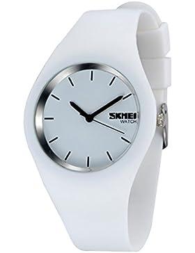 Gosear Wasserdicht Männer Frauen Lässige Sport Silikon Quarz Handgelenk Uhr Armbanduhr Schwarz Weiß
