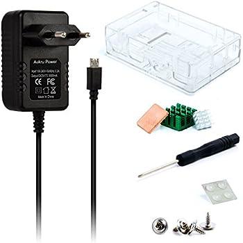 Aukru Super 3-en-1 Kit Raspberry Pi 3 Model B Transparent Case + 5v 3000mA Alimentation + dissipateur thermique Pour RASPBERRY PI 3 Model B