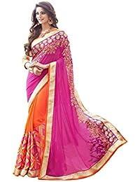 Saree By Saree Mandir Georgette Saree With Blouse Piece (_Pink And Orange_Free Size)