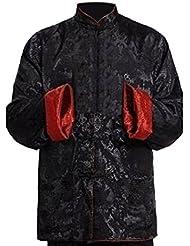 Meijunter Homme Réversible Des deux côtés Manteau Veste Costume Tang chinois Traditionnel Manche longue Arts martiaux Kung FU Chemise