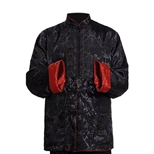 Deylaying Herren Reversibel Beide Seiten Mantel Jacke Tang-Anzug Chinesisch Traditionell Lange Ärmel Kampfkunst Kung FU Hemd -