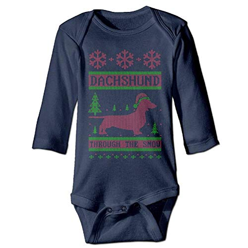 MSGDF Unisex Infant Bodysuits Dachshund Through The Snow Boys Babysuit Long Sleeve Jumpsuit Sunsuit Outfit Navy (Infant Snow Pants)