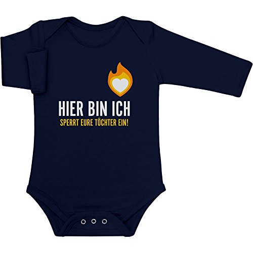 Süße Jungs Kleidung (Hier Bin Ich - Sperrt Eure Töchter Ein - Geschenke Jungs Baby Langarm Body 74/80 (6-12M) Marineblau)