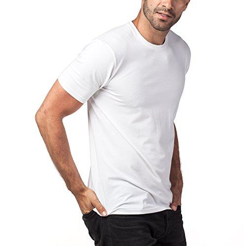 Lapasa 2er Pack Herren T-Shirts - Premium els Baumwolle - Business Kurzarm Unterhemd mit Rundhalsausschnitt für Männer M05 Weiß