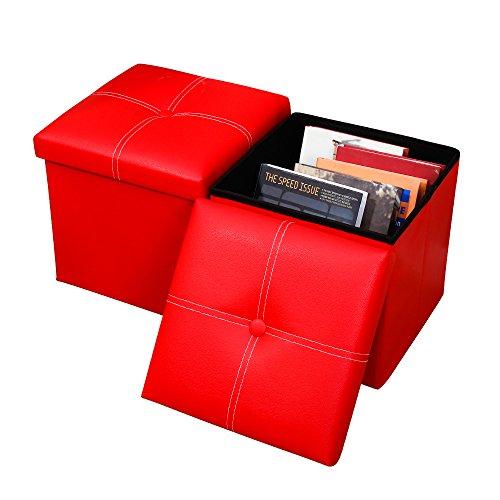 Baoyouni 2 Packungen mit Leder Falten Veranstalter Lagerung Ottoman Bank Fußstütze Hocker Couchtisch Cube, Camping Angeln Hocker (11.8x11.8x11.8, rot)
