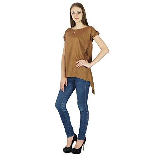 Summer Casual Tunique Manches Courtes Sundress Vêtements Top Marron