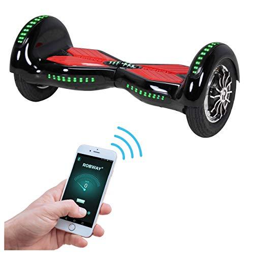 Robway W3 Hoverboard - Das Original - Samsung Marken Akku - Self Balance - 21 Farben - Bluetooth - 2 x 400 Watt Motoren - App - LED (Schwarz Rot)