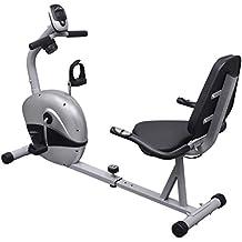 VidaXL 90981 - Bicicleta (Magnético, Negro, Plata, Calorías, Monitor, Velocidad, Tiempo)