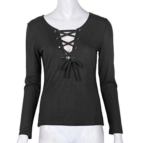 IHRKleid Damen Langarm Tops V-Ausschnitt Bluse T-shirt 5 Farben Schwarz