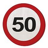 Folat 28350 Party Servietten Verkehrsschild (1 x 20 STK.)-Zahl 50