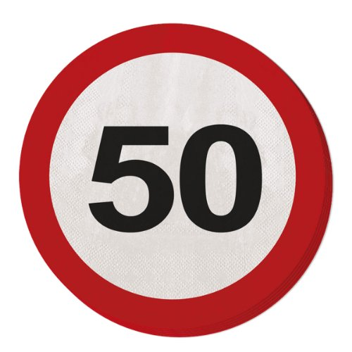 Folat 28350 Party Servietten Verkehrsschild (1 x 20 Stück)- Zahl 50 (Papier Geburtstag Party Servietten)