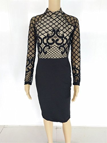 Femmes à manches longues col rond laqué panneaux Bodycon Party Clubwear robe Noir
