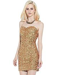 FuweiEncore Abito da Cocktail da Donna Senza Maniche Vestito Paillettes  Vestito da Mini Abito Corto Elasticizzato 5e95da99726