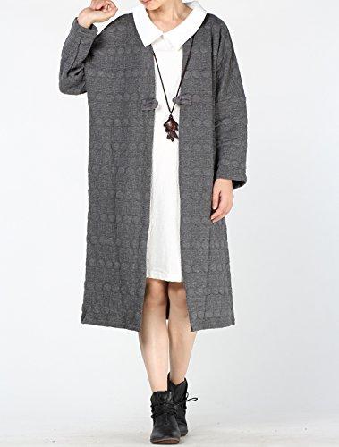 Vogstyle Damen Cusual Langarm Trench Coat mit einer Taste Art 2 Grau