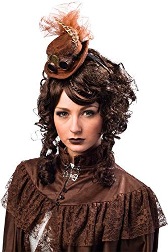 Damen Braun Steampunk Mini Hut Haarband Federn Wild West Cowgirl Movie Fasching Zubehör Outfit Karneval Erfinder Kostüm (Outfits Für Damen West Wild)