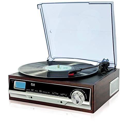 Plattenspieler mit Lautsprecher | Retro Schallplattenspieler | PLL Radio | Holz Nostalgie Musikanlage | Retroradio | AUX IN | Uhr mit Wecker | Uhrenradio | Sleep Timer | 3 Geschwindigkeiten 33/45/75 - Plattenspieler Holz Vinyl