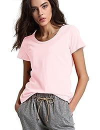 Escalier Mujer Básica Camiseta de Manga Corta Blusa Ocasional Cuello Redondo T-shirt Color Sólido Blouses