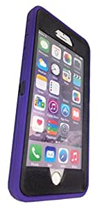 iphone 6 case, Lucky On iPhone 6 / 6s 4.7in Durable Dual Layer Protective Hybrid Armor Heavy Duty Shockproof Shell Case - built-in Transparent Screen Protector - Purple & Black