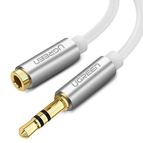 Ugreen 2M Stereo Audio Klinken aux Verlängerungskabel für AUX Eingänge 3.5mm Stecker auf 3.5mm Buchse Kompatibel mit iPhone, iPad oder Smartphones, Tablets, Media-Playern, Vergoldete Kontakte mit Hochwertigem Aluminiumgehäuse Weiß