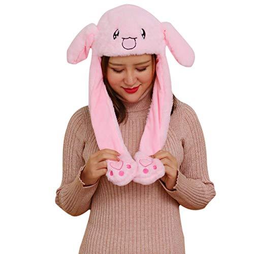 sdtdia Fun Active Animals Moving Ears Hat Fancy Dress weiches kurzes Plüsch Häschen Hut Spielzeug (Rosa)
