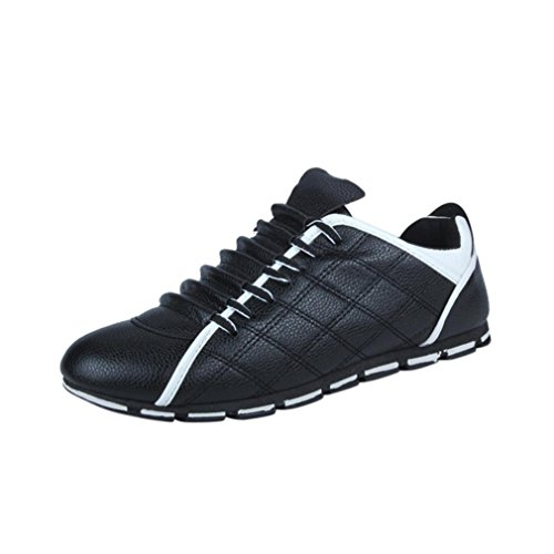 Mode Sportschuhe Herren,Herren Low-Top Moderne Lässige Herren Sneaker Fashion Men Casual Leder Bequeme Breathable Turnschuhe Flache Schuhe (EU:42/CN:43, Schwarz)