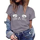 Vetement Femme Pas Cher a la Mode Coton Tee T-Shirt à Manche Courte Femmes Top Sweat Chemise Gris ado Fille Vest Gilet XXXL