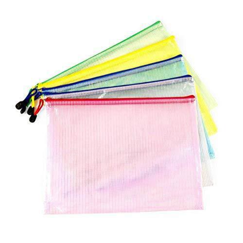 Vicloon Zip File Bag, A4 Größe Portable Mesh Dokument Tasche Farbig mit Reißverschluss für Kosmetik Büros Supplies Reise-Accessoires, 5 Farben (5pcs) (Mit Taschen Reißverschluss 5)