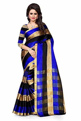 Sarees (for Women Party Wear offer Sarees New Collection Today Low Price Sarees in Blue Cotton Silk Material Latest Saree With Blouse Free Size Beautiful Sarees With Blouse)